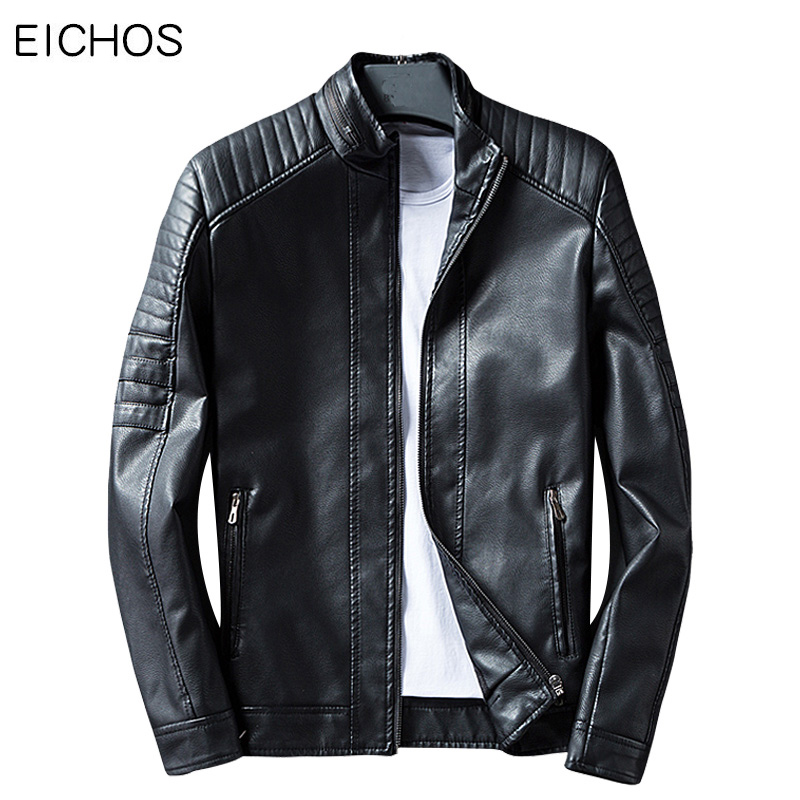 EICHOS Men leather jacket Coat Slim Fit Mens Leather Bomber Jackets Fashion Zipper Motorcycle Jacket Mens Faux Leathers Spring