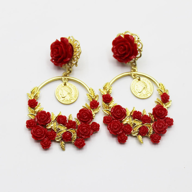 New Baroque Red Rose Flower Earrings Tail Party Wedding Crystal For Women Jewelry 401