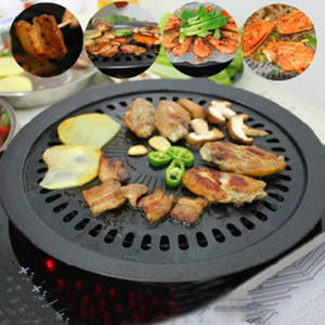 Behogar Smokeless Charcoal Nonstick Stovetop Barbecue Grill Pan for Indoor Outdoor Kitchen Cooking BBQ Roasting Tool