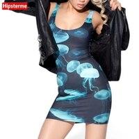 Hipsterme קיץ נשים סקסיות ללא שרוולים Vest bodycon בנות Vestidos בגדי נשים שמלות בנות הדפסת 3D אוקיינוס מדוזות הכחולה