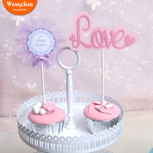 1pcs/bag Pink Love Heart Cupcake Topper Kids Happy Birthday Cake Toppers Wedding Party Decoration Supplies