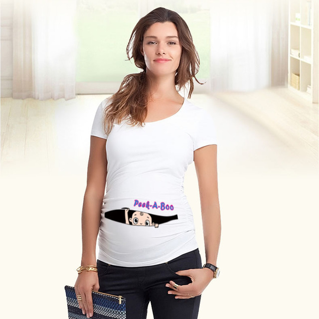 Fashion Pregnant Maternity T-Shirts Casual Pregnancy Maternity Clothes With Baby Peeking Out Funny Maternity Shirts 100% Cotton