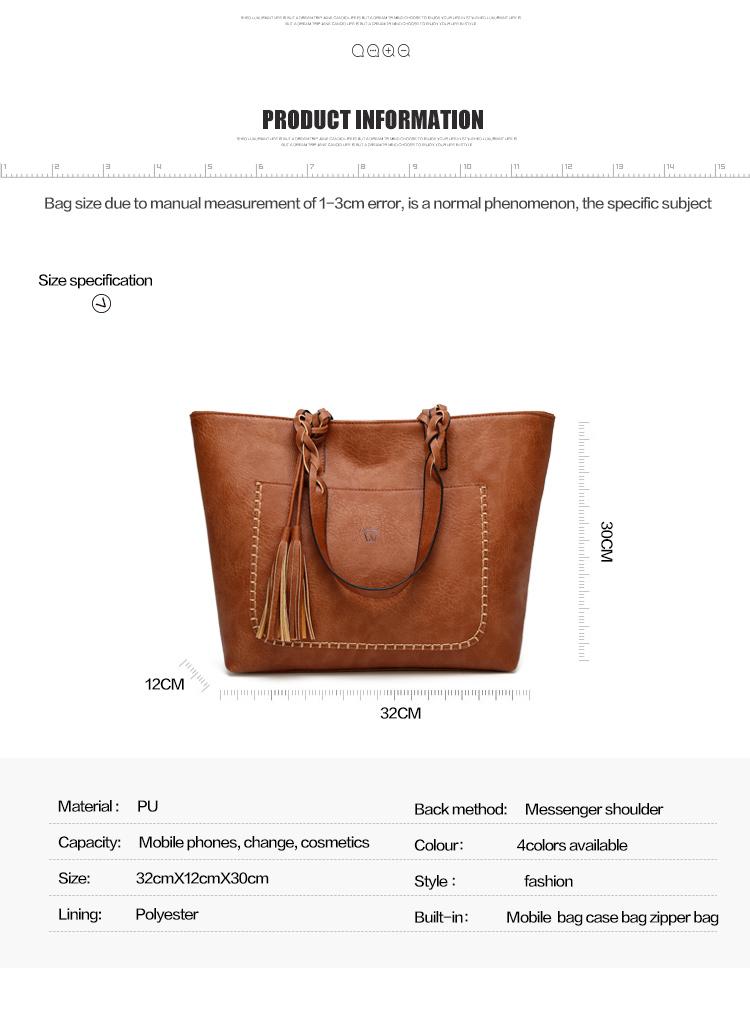 Tinkin  Vintage PU Tassel Women Shoulder Bag Female Retro Daily Causal Totes Lady Elegant Shopping Handbag 3