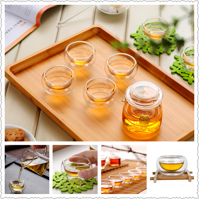 Arshen Big Promotion! 50ML Elegant Clear Drinking Cup Heat Resistant Double Wall Layer Tea Cup Water Cup For flower Tea cups