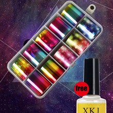 New Fashion Laser Starry Nail Sticker Nails Foils Nail Art Kits +Free Star Glue Stencil Decal For Maincure Art