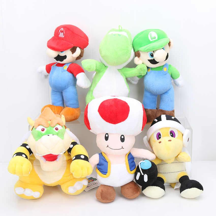 6pcs Set Game Super Mario Bros Plush 22 25cm Koopa Troopa Hammer Bowser Yoshi Mushroom Turtle Stuffed Plush Toys Doll