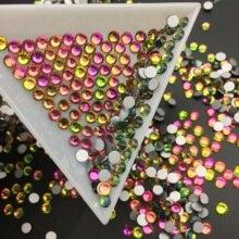Good Quality ss3-ss30 Crystal Rainbow Flat Back Nail Art Glue On Rhinestones / Non Hotfix Crystals