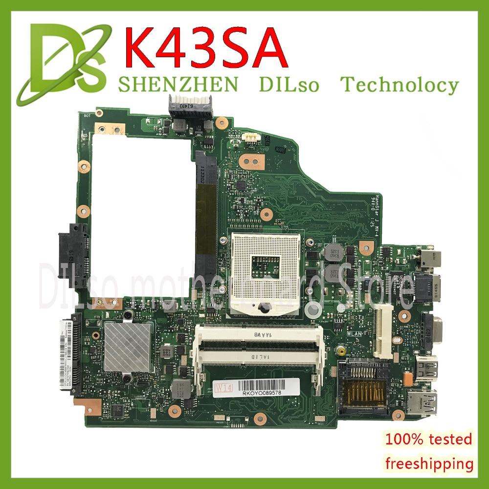 KEFU K43SA mainboard For ASUS X43S A43S K43S X43SA A43SA laptop motherboard REV 2.0 Test work 100% original work motherboardKEFU K43SA mainboard For ASUS X43S A43S K43S X43SA A43SA laptop motherboard REV 2.0 Test work 100% original work motherboard