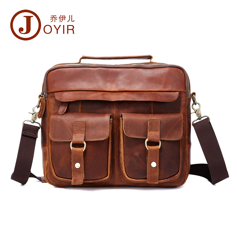 Luxury Vintage 100% Genuine Leather Bag Natural Crazy Horse Leather Men Handbags Double Layers Casual Retro Business BriefcaseLuxury Vintage 100% Genuine Leather Bag Natural Crazy Horse Leather Men Handbags Double Layers Casual Retro Business Briefcase