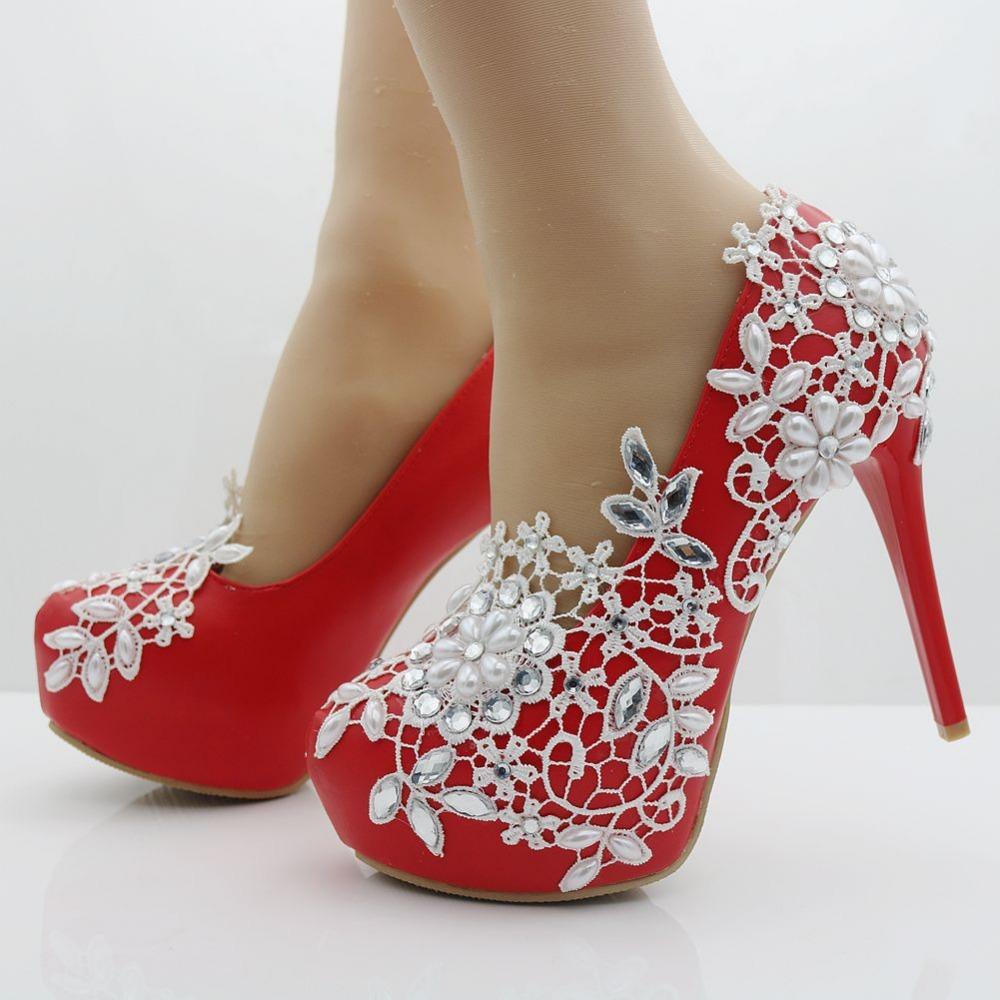 Fashion red pumps white lace shoes thin heels platform heels red ...