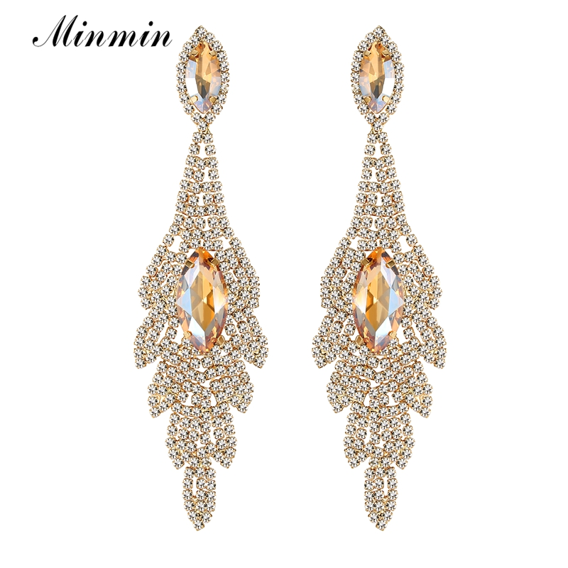 Minmin Gold Color Champagne Crystal Long Earrings for Women Leaf Shape Big Party Drop Earrings Statement Jewelry MEH1009 pair of gorgeous chic style faux gem embellished women s leaf shape drop earrings