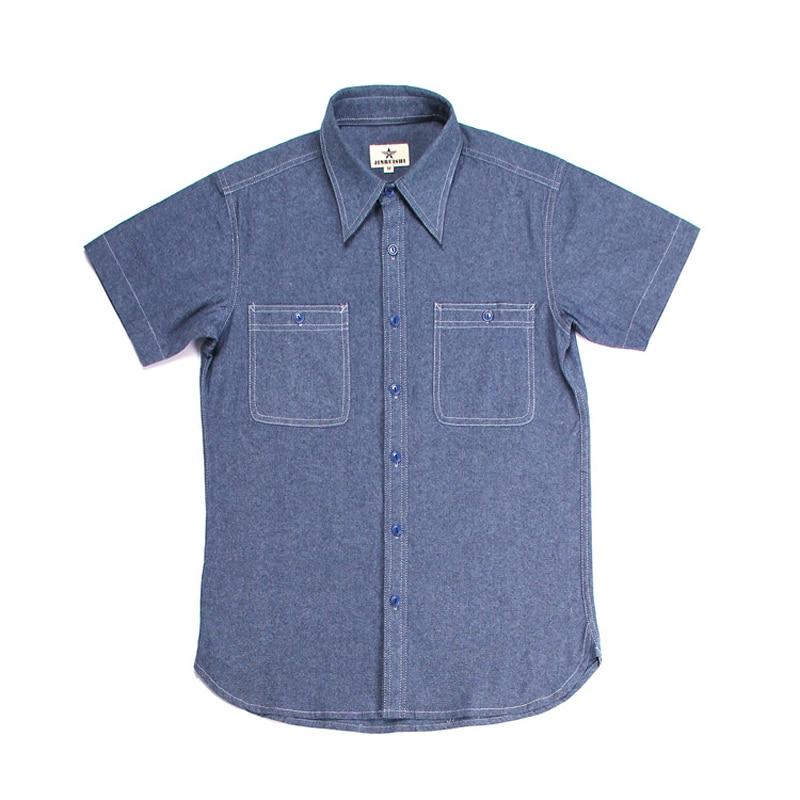 Repro WW2 US Navy Vintage Chambray Shirts Short Sleeve Men's Workwear Light Blue