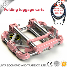 Car Folding Luggage Cart Portable Travel Aluminum Alloy luggage cart Household Car Luggage Cart Shopping Trolley cheap NoEnName_Null CN(Origin) Trunk Box Bag Stainless steel Black Pink Blue 1 3kg Luggage cart Shopping Trolley Light Portable
