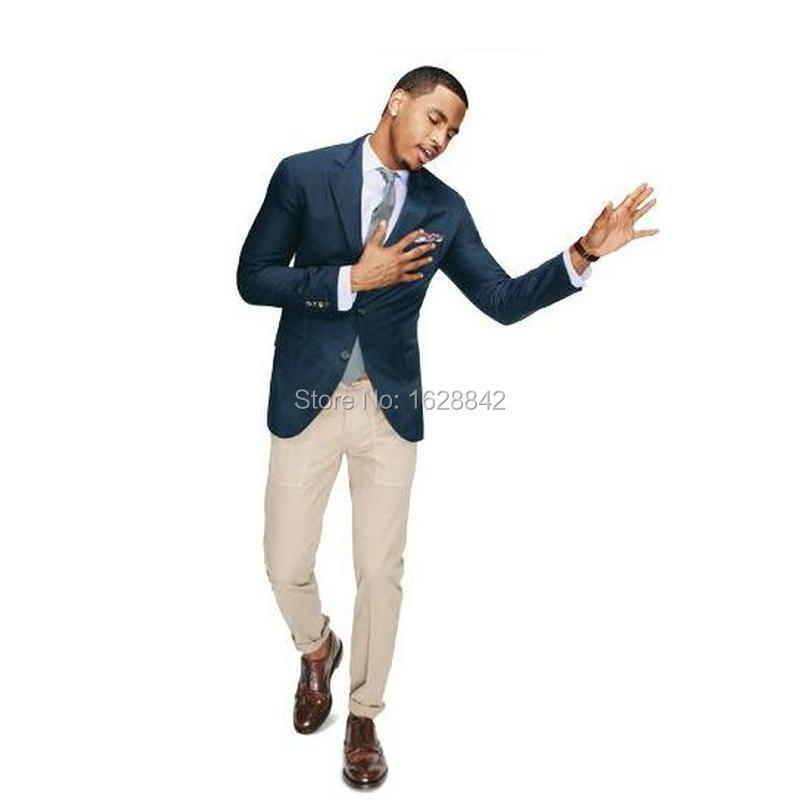 2016 High Quality Navy Blue Blazer Khaki Pants Men Suit