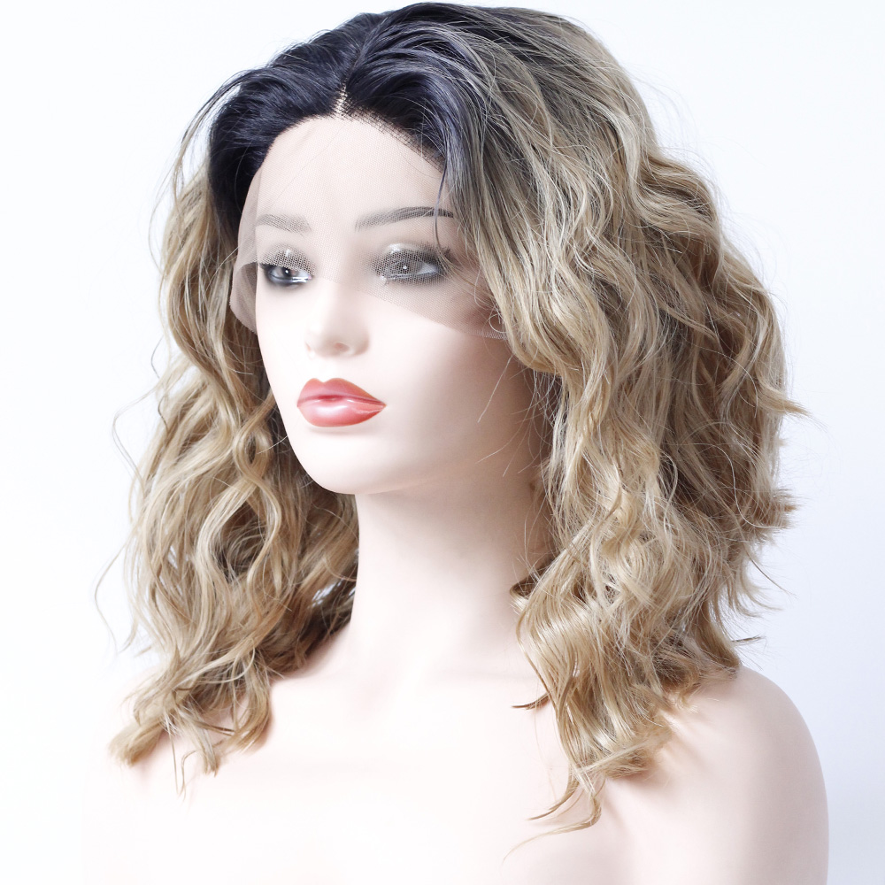 Dark Root Ombre Honey Blonde Wig Synthetic Lace Front Wigs Middle Part Short Brown Bob Elastic Lace Glueless Heat Resistant Wig Lace Wigs