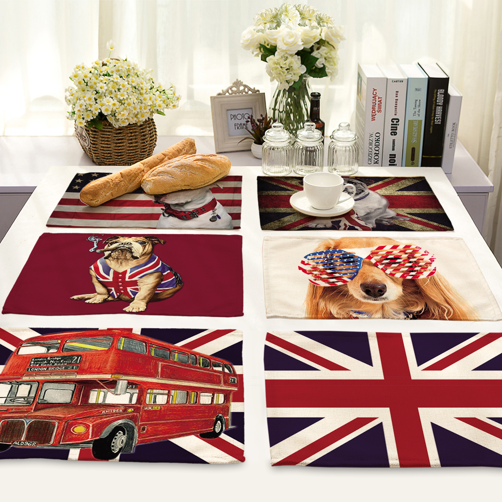American series design Printed Table Napkins for Wedding Party table mat Cloth Western Dinner Mat Home Textile
