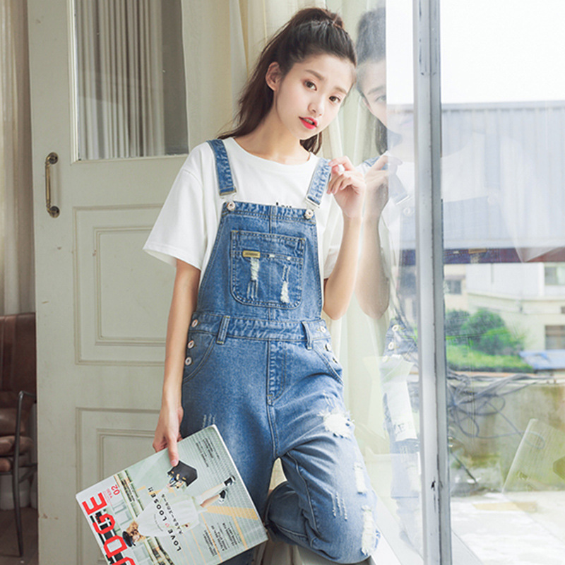 Have An Inquiring Mind Fall Pole Rompers Womens Jumpsuit Casual Loose Denim Overalls Cute Jean Overalls For Women Women's Clothing