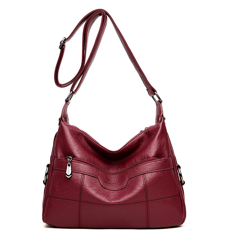 Women\'S Genuine Leather Handbags Shoulder Crossbody Bags Lady Thread Messenger Bag Hobos Women Bags