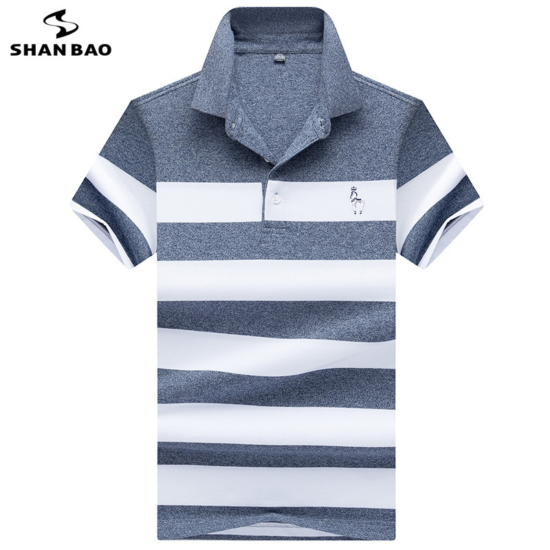 2019 Summer Luxury High Quality Cotton Chest Embroidery Business Casual Men's Stripe Short Sleeve Lapel   Polo   Shirt 8075