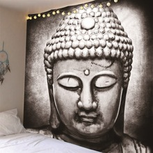 Hot India Black and White Buddha statue Hot Carpet Wall Hanging Tapestry Mattress Bohemian 5Sizes Rug Blanket Camping Tent
