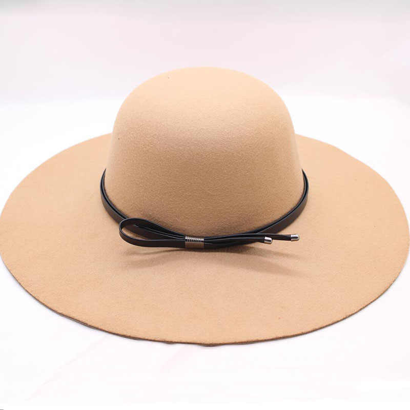 4d6ce33c455 BINGYUANHAOXUAN 2018 Fedora Hats for Women Bowler Jazz Top Hat Felt Wide  Brim Floppy Sun Beach