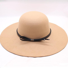 BINGYUANHAOXUAN 2018 Fedora Hats for Women Bowler Jazz Top Hat Felt Wide Brim Floppy Sun Beach Church Caps Sun Hats For Women