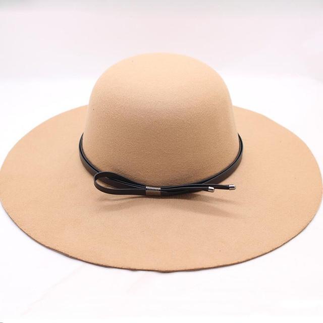 93569da51393c BINGYUANHAOXUAN 2018 Fedora Hats for Women Bowler Jazz Top Hat Felt Wide  Brim Floppy Sun Beach Church Caps Sun Hats For Women
