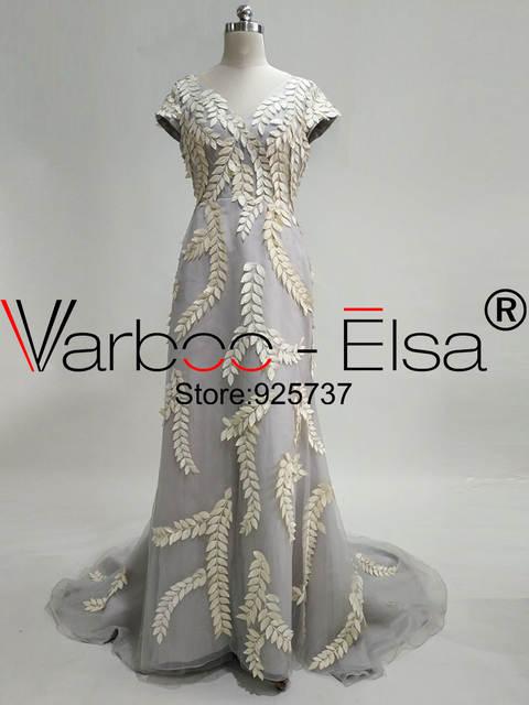 US $150 4 20% OFF|VARBOO_ELSA yousef aljasmi long silver evening dress  mermaid prom dresses with leaves evening dress with cap sleeves party  dress-in