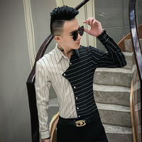 Autumn New Tuxedo Shirt Personality Patchwork Striped Shirts For Men Clothes 2019 Long Sleeve Mens Causal Shirts Slim Fit Dress
