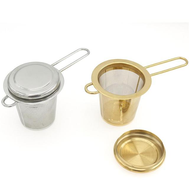 Lưới Tea Infuser Tái Sử Dụng Trà Lọc Trà Bằng Thép Không Gỉ Loose Tea Leaf Gia Vị Lọc Gấp Xử Lý Drinkware Nhà Bếp Công Cụ