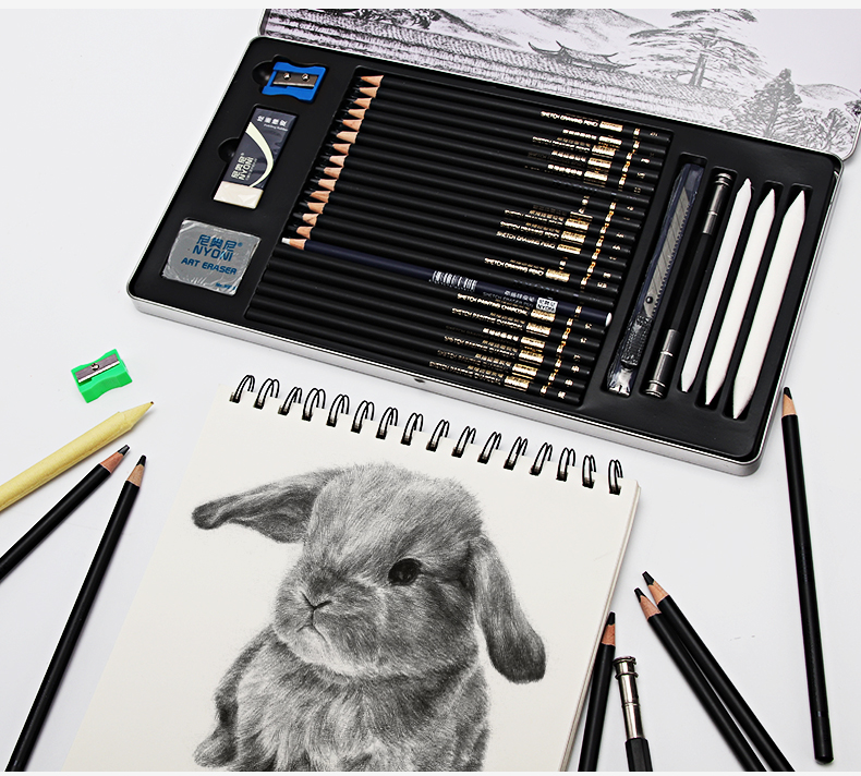 Sketch Pencil Set Professional Sketching Drawing Kit Set Wood Pencil Pencil Bags For Painter School Students Art Supplies