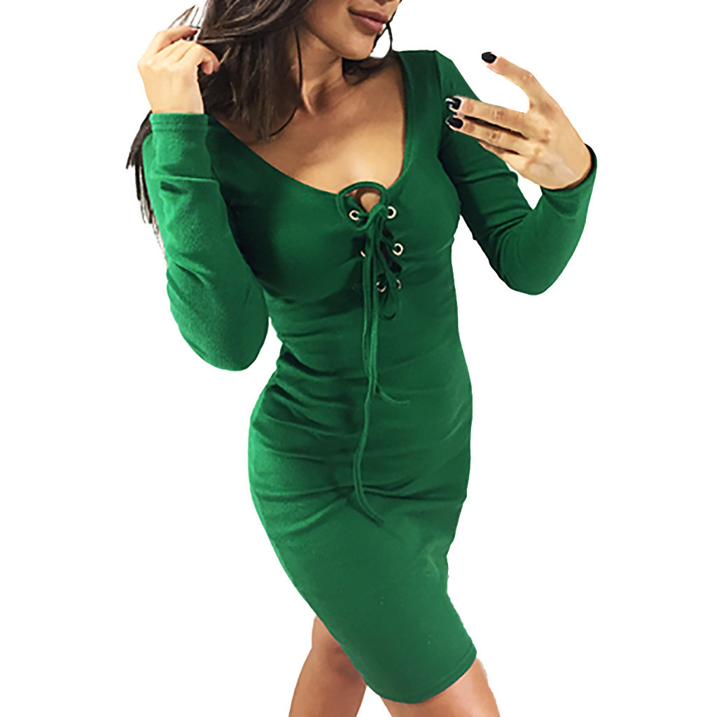 <font><b>Sexy</b></font> <font><b>Autumn</b></font> Winter Dress <font><b>Fashion</b></font> <font><b>Women</b></font> Solid V-Neck Badage Lace Up Long Sleeve <font><b>Bodycon</b></font> Mini Dress <font><b>Elegant</b></font> Vestidos <font><b>2018</b></font> image