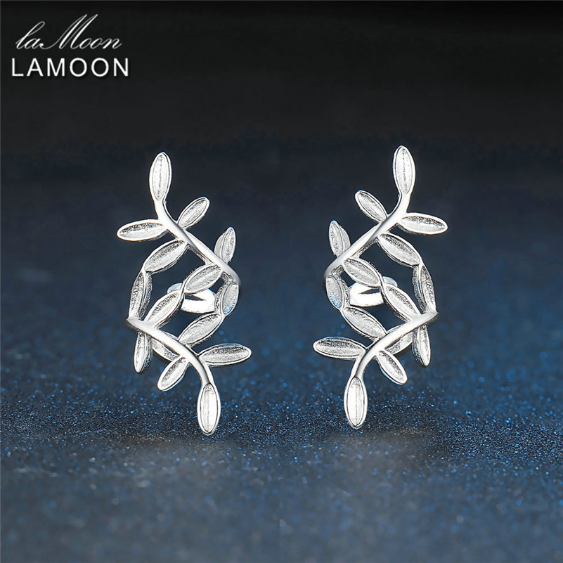 LAMOON Earrings Clip New Olive Leaf 100% S925 Real Sterling Sliver Fine Jewelry Party Accessories Anniversary Gift Earring EY267