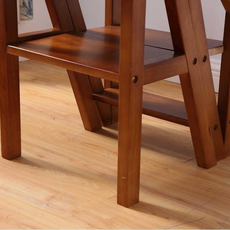 Wooden Folding Library Ladder Chair Kitchen Furniture Step Ladder School  Convertible Ladder Chair Step Stool Natural/Honey/Brown