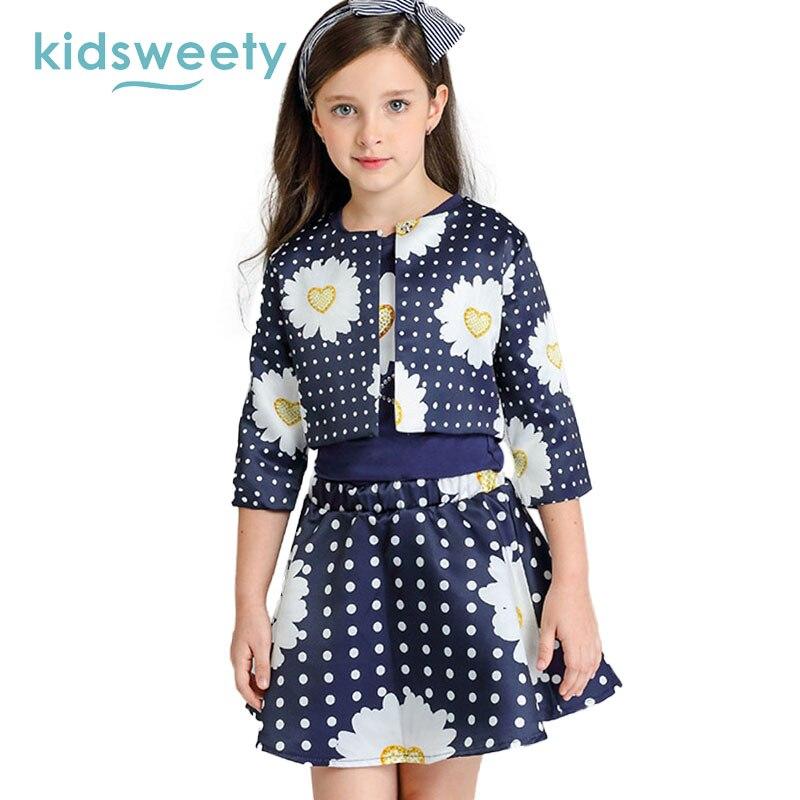 Kidsweety комплекты для девочек хлопковый Флора узор лоскутное печати детская футболка пальто юбка 3 предмета костюмы малыш горошек комплект дл...