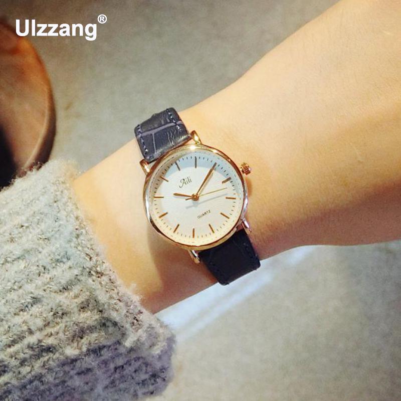 2017 New Korea Brand Simple Style Genuine Leather Strap Watches Fashion Casual Ladies Quartz Wristwatch Women