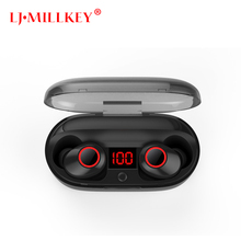 5.0 Bluetooth Volume Control Hifi Earphone with Mic IPX7 waterpr TWS Wireless Earbud Stereo Mic for Phone with Charger Box YZ211