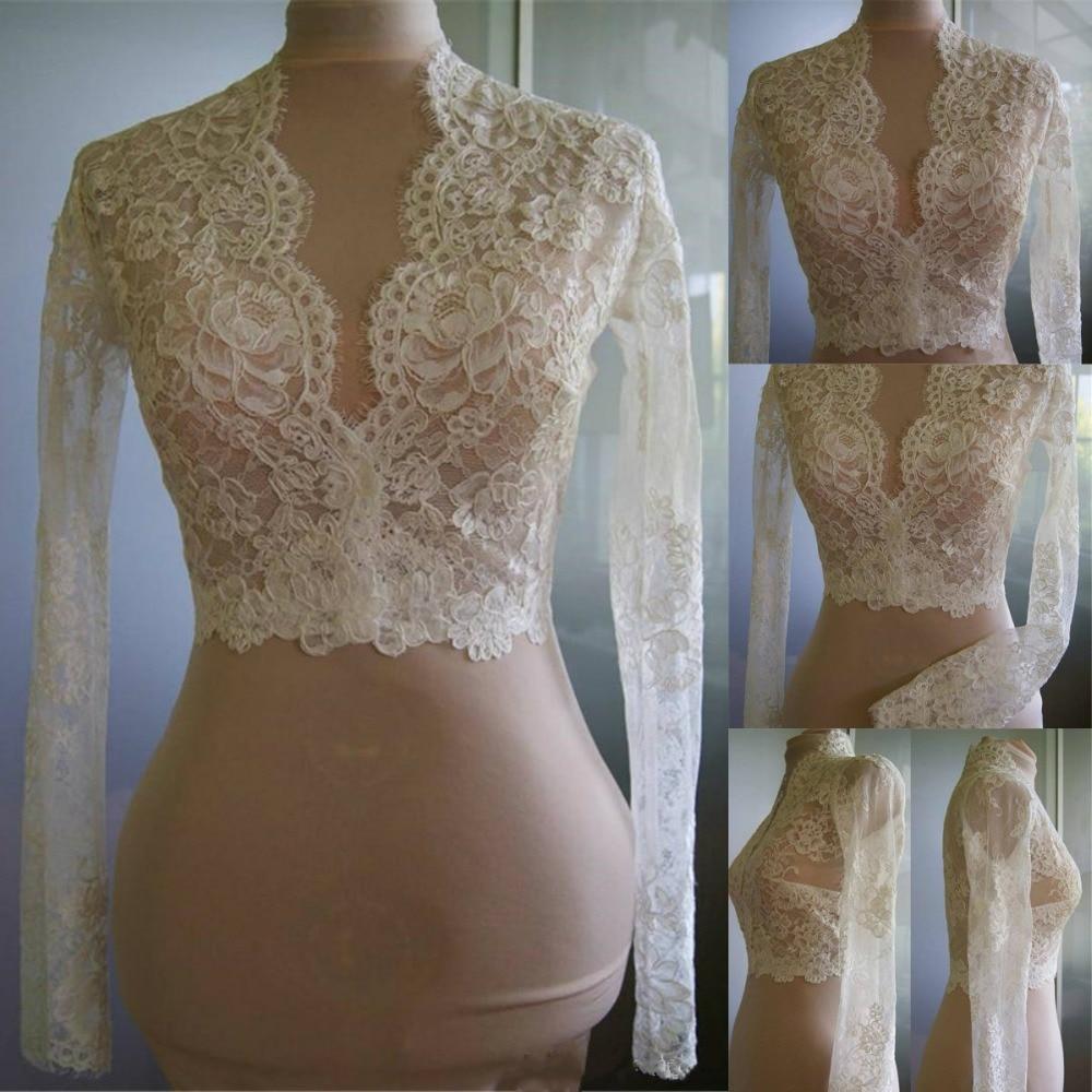 Cheap Bridal Wraps Modest Alencon Lace Crystals V Neck Sheath Bride Bolero For Weddings Long Sleeve Lace Bridal Jacket