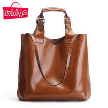 BVLRIGA Genuine Leather Bag Women Bag Handbags Women Messenger Bags Designer Fashion Brand Top-handle Bags Oil Leather