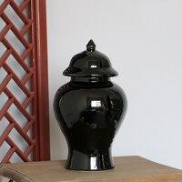 Jingdezhen High Temperature Fired Large Round Black Ceramic Porcelain Ginger Jars