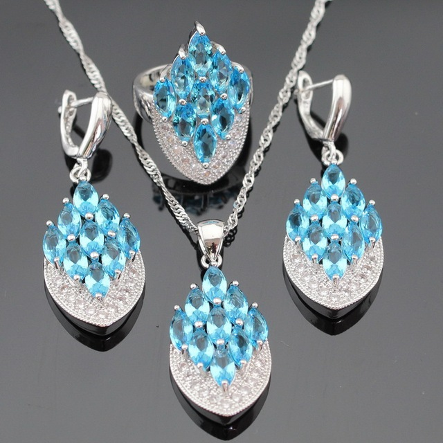 Ashley Light Blue Created Topaz White CZ Silver Color Jewelry Sets For Women Necklace Pendant Earrings Rings Free Gift Box