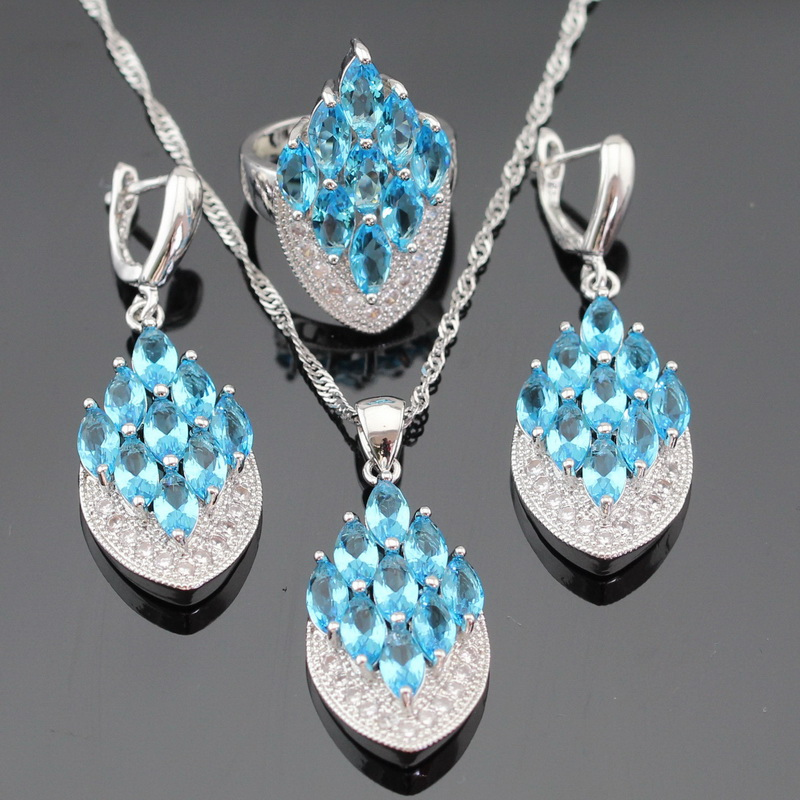 Ashley Light Blue Cubic Zirconia White CZ Silver Color Jewelry Sets For Women Necklace Pendant Earrings Rings Free Gift Box