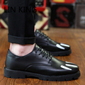 LIN KING Fashion Men Flats Lace-up Thick Sole Solid Low Heel Round Toe Platform Shoes Massage Outdoor Party Dress Shoes For Male