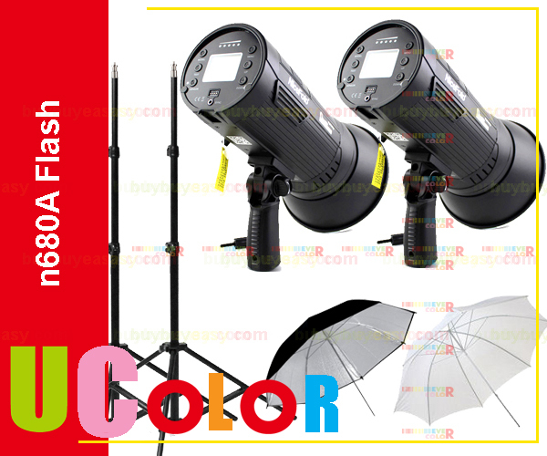 1200W ( 2 x 600W ) Portable Wireless Studio Flash Strobe Light Kit nicefoto n680A Black Photographic Lighting 110V / 220V