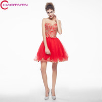 Cocktail Dresses 2018 Short Sexy Strapless Red Banquet Bride Prom Dress Homecoming Dress