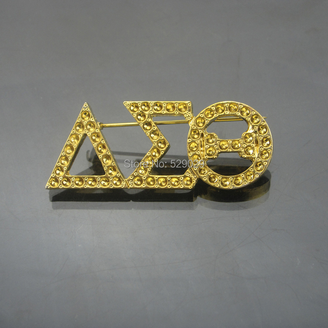 greek letters delta sigma theta sorority 18k gold plated brooch lapel pins accessories