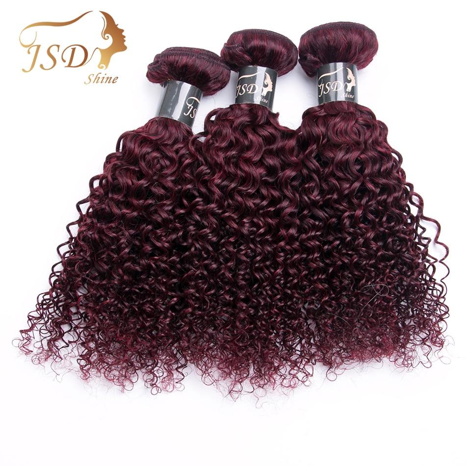 JSDShine Malaysian Hair Kinky Curly Extensions Human Hair Weaving Bundles Red 99J Burgundy Color 3 Piece