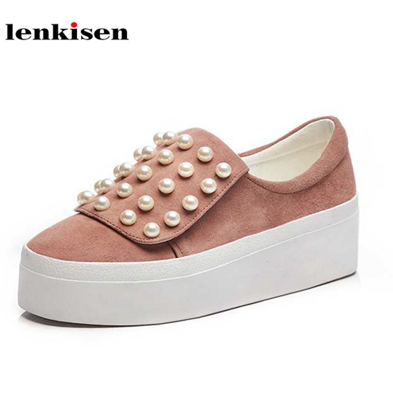 Lenkisen sheep suede round toe string bead sneaker slip on causal shoes high heels increased running women vulcanized shoes L26