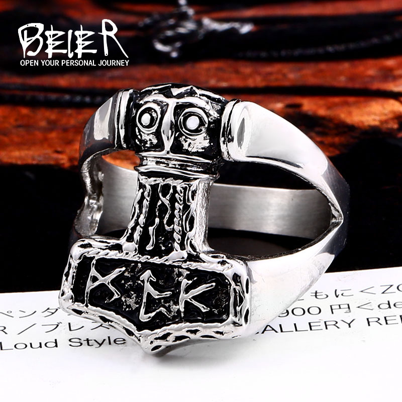 BEIER 316L stainless steel nose Vikings Odin 's Symbol man ring scandinavian Myth jewelry Amulet Vintage LLSMR004R(China)