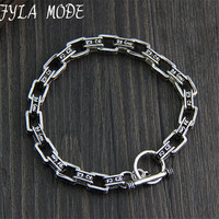 7mm 925 Sterling Silver Bracelet Men Mantra Letter 19 21CM 100 S925 Solid Thai Silver Link